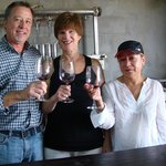 Winemaker Mario Benson with guests at his winery, Montaño Benson