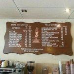 The menu of drink goodies.
