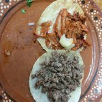 Volcan ( adobada in a tostada with cheese ) a Must try! And taco de bistec