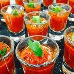 Shot glasses of Gazpacho soup