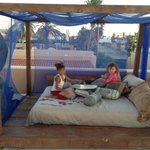 Kids playing on the rooftop relaxation center....