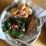 Delicious!  Ruben and caprese sandwiches and kale salad! Carpe diem!