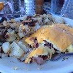 Ham and Bacon Omlet and seasoned potatoes!!