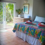 Tropical colors;  comfory Cal King bed