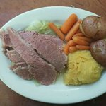New England Boiled Dinner: Corned Beef, Cabbage, Boiled Potato, Carrots, Turnip