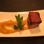 Tapas - sousvide and roasted pork belly with sweet potato pureé