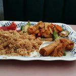 Szechuan shrimp plate.