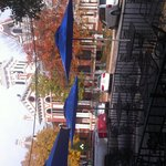 Outside set sing is right across from beautiful courthouse