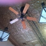 Beautiful tin ceiling and original fans