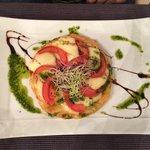 Starter - Tomato and Mozarella tart with pesto