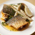 Grilled sea-bass fillet w/ puttanesca di Napoli w/ roast celeriac, char-grilled white asparagus