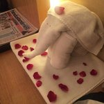 Towel elephant with rose petals - left in my room :)