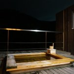 Moegi open air onsen at night