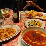 Our dinner: Lobster noodle, Fish Soup, Potato Gnocchi, and a side of veggies