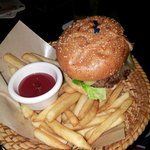 A Snack, BURGER AND FRIES IN A BASKET