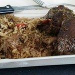 Jerk chicken, rice and peas with jerk gravy