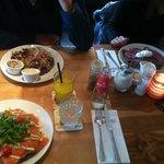 Lunch, (Left on top) Ham, (Left on bottom) Salmon, (Right) Roast beef