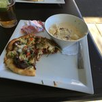 Wild boar pizza and seafood chowder