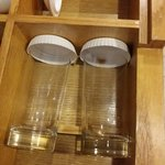 I open the drawers,  find the glass was this way, black inside,  because yesterday o used them f