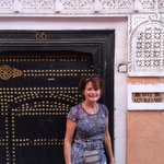 In front of the door to Riad Aguerzame