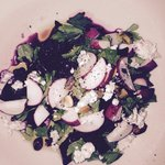 Beet Salad with turnips, radishes, pistachios and blue cheese.