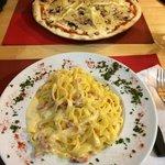 Pizza Montagnarda(?) and Carbonara