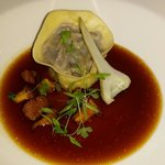 Oxtail tortellini and consomme.