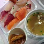 寿司、ふく汁、ふくの唐揚げ