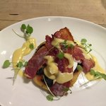 Bubble and squeak starter with poached egg and bacon. Mmmmm