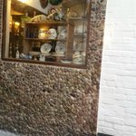 View of antique shop next door from our table