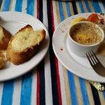 Cheesy garlic bread and weird crab thing
