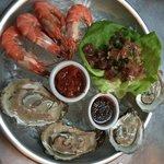 Plateau Grande-wild shrimp, local oysters, local tuna ceviche