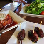 Arancini's, dates w/ speck and Simple salad...