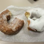 Buttermilk and white icing cake donuts