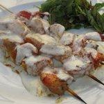 морепродукты - гриль в сырном соусе