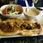 Malaysian-style Lunch Combo with soup of the day, salad and fresh roti.