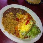 Chicken taco, chicken enchilada combo