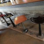 some of the stools are still the original metal tractor seats dating back to the 1940's