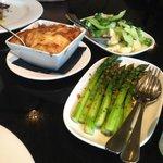 Sides: potatoes gratin, market greens, asparagus