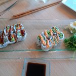 spicy asparagus roll and veggie roll