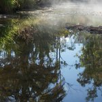 Hot springs steaming, early morning