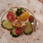 Tartare de saumon et pétoncles à la mangue