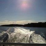 view from ferry leaving Finnhamn