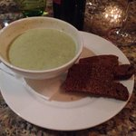 For starters creamy broccoli soup with Guinness bread