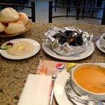 tahini, fresh bread, mussels, shrimp soup, shrimp molokhia