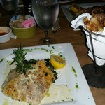 Horseradish Crusted Grouper served w/a side of Creamed Spinach & Parmesan Truffle Fries. DELICIO