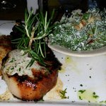 Grilled Pork Chops served w/Kale Salad. Best grilled chop I EVER had!