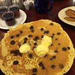 Huge and tasty choc chip pancakes