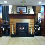 Lobby two sided gas fireplace