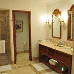 twin sinks, shower and bath